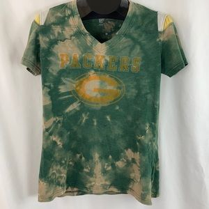Custom Bleached Green Bay Packer T Shirt L